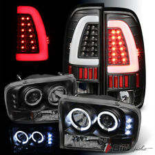 For 99-04 F250/350/450/550 Blk Smoked Pro Headlights + Light-Bar LED Tail Lights