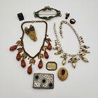 Antique Vintage Jewelry Lot Art Nouveau Buckle Necklaces Rings Brooch Fur Clip