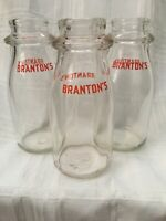 Lot Of 3 Vintage Half Pint Milk Bottles Branton's Dairy Batavia New York Bottle