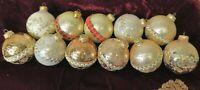 Krebs Vintage Christmas Glass Ornament Lot Gold White Rose Glitter Stenciled