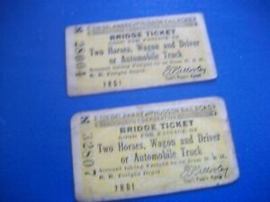 c.1900 D&H RR Delaware Hudson Railroad Horse, Wagon, Auto Bridge Tickets