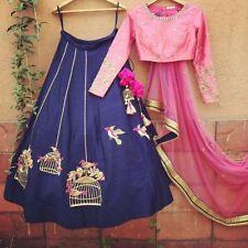 Indian Stylish Designer Bollywood Party Blue Lehenga Anarkali Salwar Suit Dress