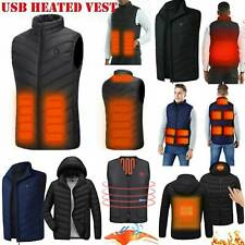Mens Electric Vest Heated Cloth Jacket USB Warmer Up Heating Pad Body Winter