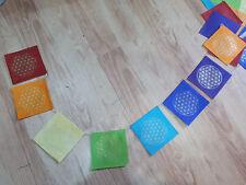 sacred geometry prayer flags, flower of life, handmade lokta paper, Nepal Tibet
