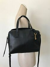 Fossil Women's Black Leather Emma Satchel Handbag Crossbody ZB6847001 NWT