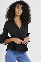 UK New Women Ladies Summer Black Short Sleeve Satin leated Ruffle Hem Top Blouse