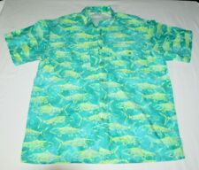 The Days Catch Koi Trout Fishing Hawaiian Style Aloha Camp Vented Shirt Mens M