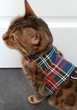 LAND O BURNS BENGALS CAT HARNESS / WALKING JACKET MULTI TARTAN / NAVY - SMALL