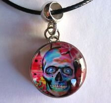 Skull and Flowers, Snap jewelry pendant, ginger snaps, charms 18 mm