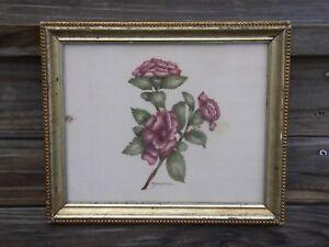 Vintage THEOREM Painting Primitive Still Life Rose Floral Gold Beaded Wood Frame