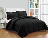 Chezmoi Collection 3-Piece Ultra Soft Down Alternative Comforter Set, Black