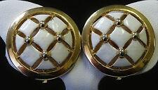 Vintage Earrings CROWN TRIFARI White Enamel w Gold Tone Open Work Checks VG 27