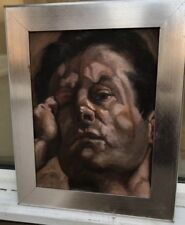 1960/70s impressionist oil painting of mans head - School of Lucien Freud ????