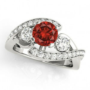 1.66 Ct Red Color Enhanced Diamond Solitaire Ring 14k WG Valentine Day Spl.Sale