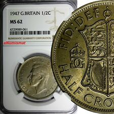Great Britain George VI 1947 1/2 Crown NGC MS62 Light Toned KM# 866