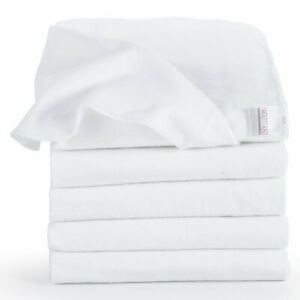 5er Pack - Moltontücher /Baumwolltücher - 80x80 cm, weiß | PREMIUM QUALITÄT
