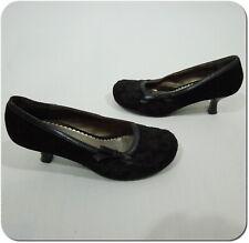 """MUDD Women's Black Velvet 1 1/2"""" Round Toe Slip On Heels w/ Black Bow size 7M"""