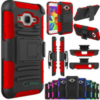 Hybrid Rugged Kickstand Clip Case For Samsung Galaxy Core Prime Prevail LTE G360
