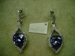 Swarovski Crystal Purple Earrings - Platinum/Brass 10.87ct Dia.01