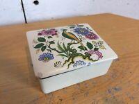 Vintage 1970's Sandland Hanley Staffordshire Oriental Print Trinket Pot with Lid