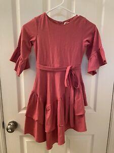 Joyfolie Mia Joy Dress Tiered Ruffle Bell Sleeves Side Bow Tie Girls Size 8