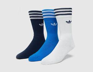 Adidas 3 Pairs Crew Socks White/Blue/Navy Size 2.5 - 5 New no Tag Free P&P UK