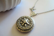 Jewellery Compass Photo Lockets Necklaces silver