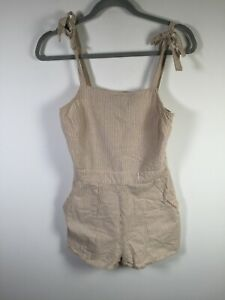 Glassons womens brown white striped playsuit romper size 6 sleeveless cotton
