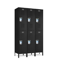"Jorgenson Black 2-Tier Metal Lockers 36""W X 18""D X 36/72""H - 6 Openings a Set"