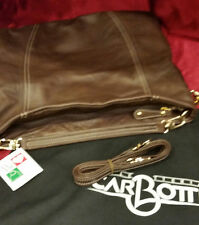 CARBOTTI  ITALY SHEILA CHOCOLATE BROWN LEATHER HANDBAG Shoulder & Long Strap NWT