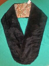 Thin Black Faux Fur Stole w Green & Orange Floral Lining for Adult or Teen FSC11