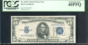 1934-A $5 Silver **STAR** Certificate *07092405A PCGS Extremely Fine 40PPQ