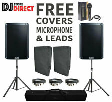 """TWIN ALTO TS315 15"""" PA DJ 4000W Active Powered Speaker BUNDLE With Stands Covers"""