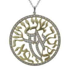 Gold Finished Two-tone with CZ Shema Israel Jewish Prayer Large Necklace Pendant