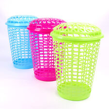 Tall Laundry Basket With Lid Strong Plastic Washing Clothes Hamper Linen Bin