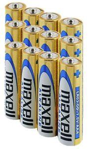 12 MAXELL AAA ALKALINE BATTERIES AKA LR03 MN2400 AM4 LR3 1.5V EXPIRY 11/2023 NEW