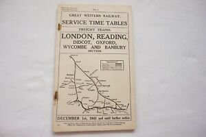 1941 GWR Working Service Freight Timetable Oxford Reading Didcot Wycombe No. 1