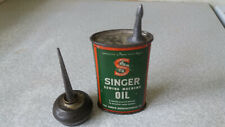 TWO VINTAGE SEWING MACHINE OIL CANS - SINGER  & SMALL PUSH BUTTON CAN