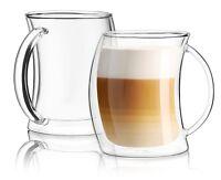 JoyJolt Caleo Glass Latte Cups, Double Wall Insulated Glasses, Set of 2 13.5 Oz