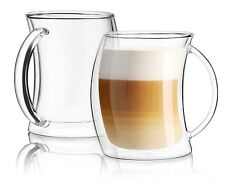JoyJolt Caleo Glass Latte Cups, Double Wall Insulated Glasses, Set of 2 13.5 Oz