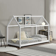 B-WARE Kinderbett 70x140cm Haus Holz Weiß Bettenhaus Hausbett Kinder Bett