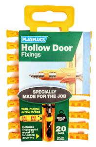 Plasplugs Hollow Door Regular Duty Fixings Clip Pack of 20 + 6mm Drill Bit
