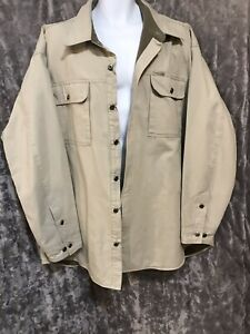 Columbia XXL Men's Shirt Jacket Fleece Lined Beige Cotton Excellent