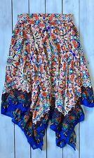 Monsoon Blue Orange Retro Floral Hanky Hem Midi Skirt 10 / 12 - B33