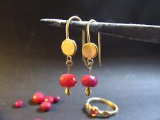 14k yellow gold Earrings wite Ruby.Unique dangle gold & Ruby earrings . Handmade