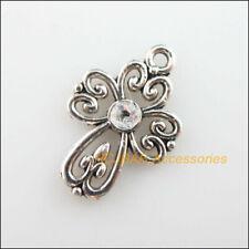 12Pcs Tibetan Silver Tone Clear Crystal Cross Flower Charms Pendants 14.5x21.5mm