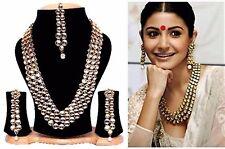 Indian Bollywood Wedding Jewelry Long Kundan Bridal Gold P Necklace Set Tikka 4P