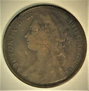 One Penny 1879 UK - indents Victoria Coin 1d British worn