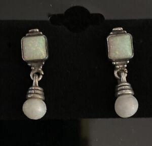 Vintage Sterling Silver Drop Earrings Southwestern Australian Opal Pearl