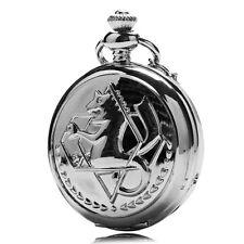 Silver Alchemist Vintage Fullmetal Necklace Quartz Pocket Watch Chain Gift P423